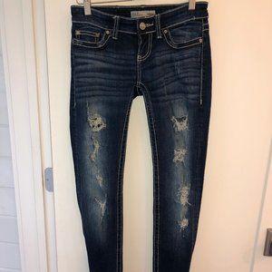 BKE Sabrina skinny jeans sz 24R EUC destroyed wash